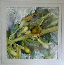 Seaweed beach comber Katy Wroe oil painting framed wood panel green grey ochre