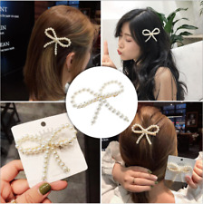 Fashion Women Pearl bowknot Hair Clips  Elegant Bobby  Hair Clip Accessories