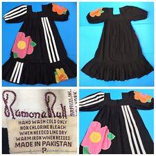 Rare Vintage RAMONA RULL DRESS Ethnic Boho Mirrored-Flowers + Sporty Stripes