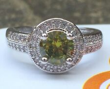 925 Sterling Silver Art Deco Vintage Peridot White Sapphire Cocktail Ring L