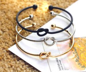 Silver Rose Gold Infinity Valentine Friendship Knot Bangle Bracelet Gift Bag/Box