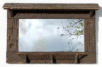 Antique c1850s 19th Century Rustic Folk Art Wood Shaving Mirror Shingled Roof