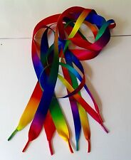 Double sided RAINBOW satin ribbon laces,Trainers,Shoes,Boots Adults & Children