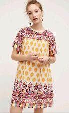Anthropologie Tanvi Kedia Caltha Swing Dress S EUC Gorgeous Beaded Bold Colors