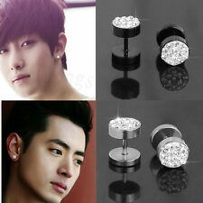 Vintage 2Pcs Men's Black Barbell Punk Stainless Steel Crystal Ear Studs Earrings