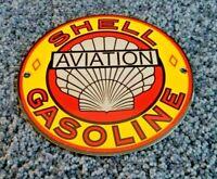 VINTAGE SHELL GASOLINE PORCELAIN METAL GAS OIL AVIATION SERVICE PUMP SIGN