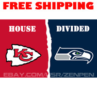 Kansas City Chiefs vs Seattle Seahawks House Divided Flag Banner 3x5 ft 2019 NEW