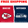 Kansas City Chiefs vs Seattle Seahawks House Divided Flag Banner 3x5 ft 2019 NEW