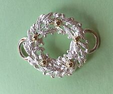 14K Gold decorations Made in Usa Christmas Wreath Clasp Sterling Silver 925 w/