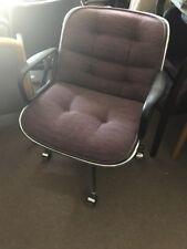 Vtg Mid Century Pollock Knoll Plum Executive Office Desk Swivel Chair w/ Arms