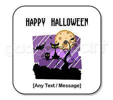 Personalised Happy Halloween Gift Black Cat Owl Vampire Bat Square Coaster #2