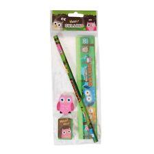 2a87310b9ed Owl 5pc Stationery Set Cute Girls School Pencil Ruler Eraser Sharpener  Woodland