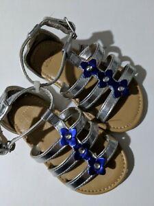 Gymboree Baby Toddler Girl Silver Blue Summer Sandles Size 7