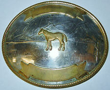 Vintage German Silver with Gold Color Western Horse Belt Buckle