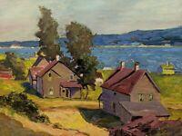 Original Earl W. North (1904-1989) Painting- Listed Ohio Artist- ST. IGNACE LAKE