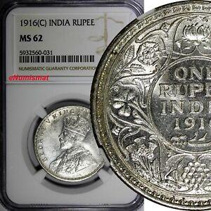 India-British George V Silver 1916(C) Rupee NGC MS62 Calcutta KM# 524 (031)