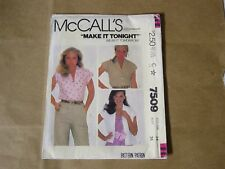 McCALL's PATTERN 7509 MISSES' BLOUSE. MISS SIZE 14, BUST 36. UNCUT NEW