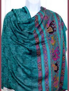Greenish Teal Pashmina Silk Blend Shawl,Stole,Wrap Paisley Elephant Design India