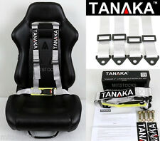 1 TANAKA UNIVERSAL LIGHT GRAY SILVER 4 POINT BUCKLE RACING SEAT BELT HARNESS 2""