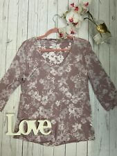 Mais il est ou le soleil? XL 16 pink semi sheer floral smart pretty long sleeve