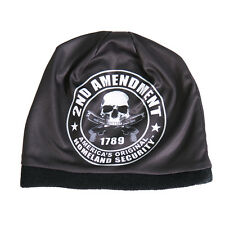 2nd Amendment Beanie Knit Cap Biker Patriot Skull Hat Ski NRA Gun USMC Army Sub
