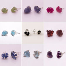 925 Solid Sterling Silver prong Stud Earrings Raw Gemstone Women Jewelry RSSE21a