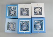 Set of 6 Wedgwood Jasperware Christmas Ornaments Angel,Snowflake,Cameo,Bal l Mib