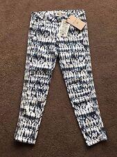 Isabel Marant H&M Boho Tie Dye Cropped Moto Biker Ankle Zip Skinny Jeans Sz XS-S