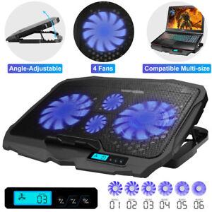 LED Laptop Cooling Pad Dual USB 4 Fans Cooler Adjustable Stand Coolpad U