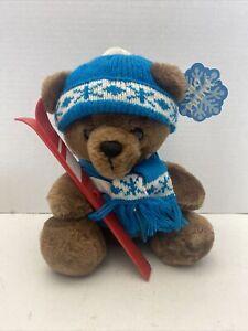 Vintage 1987 Dakin Skiing Teddy Bear with Ski Jacket Hat & Skis SNO PATROL