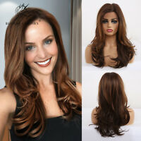 Lace Front Long Wave Synthetic Wigs for Women Brown Layered Party Cosplay Hair