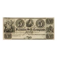 *jcr_m*USA - 1800´s - $5 DOLLARS THE FRANKLIN SILK COMPANY, PORTAGE CO.OHIO*UNC*