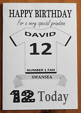 SWANSEA FAN Unofficial PERSONALISED Football Birthday Card (White Shirt)