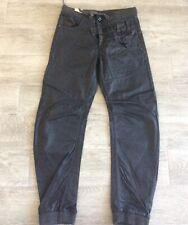 BOYS ETO 9901 CUFFED JOGGER JEAN NICE DETAIL BLACK COATED DENIM ZIP FLY SIZE 29