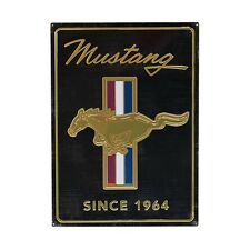 "BLACK AND GOLD FORD MUSTANG VINTAGE LOGO EMBOSSED TIN SIGN 13"" x 18"""