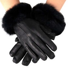 Alpine Swiss Women's Leather Dressy Gloves Rabbit Fur Trim Thermal Lined BLK L