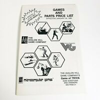 Avalon Hill Games and Parts Price List from 1985 Retro Vintage Gaming Manual
