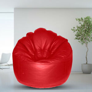Leather Sofa Chair Bean bag Cover without Beans Red for luxuries Decor gift