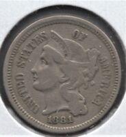 1881 3C Three Cent Nickel VF