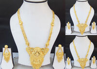 Indian Bollywood Fashion Ethnic Long Gold Plated Jewelry Necklace Earrings Set