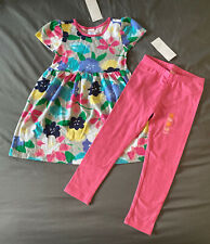 Toddler Girl Size 3T Gymboree Water Color Floral Dress & Pink Leggings