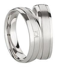 Ring Eheringe Partnerringe Verlobungsringe Silber 925 mit Diamant + Gravur