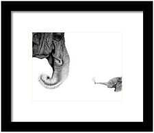 Original drawing painting of  a Elephant  in graphite wild animals baby calf