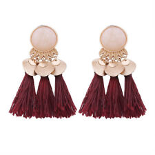 1 Pair Wine Red Women's Tassel Earrings Dangle Alloy Resin Bohemian Pendant