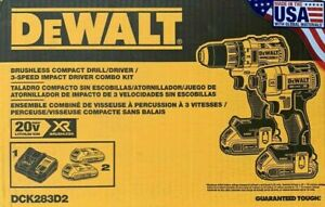 DEWALT DCK283D2 20V MAX XR Brushless Drill/Driver and Impact Driver Combo Kit
