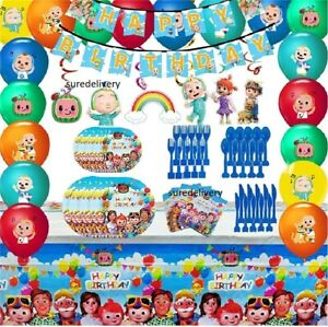 Cocomelon Birthday Horn Flags Tableware Tablecover Banner Kid Party Decorations