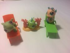 LPS #1A Littlest Pet Shop Lot Beach Lounge Chairs Turtle Fish Seahorse Ocean HB2