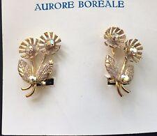 Vintage Earrings - Aurore Boreale Swarovski Crystal Gold Color Clip-on Earrings