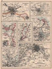 GERMAN/PRUSSIAN CITIES.Frankfurt Munich Szczecin Kiel Danzig Berlin 1906 map
