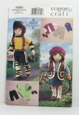 Vogue 7250 Sewing Pattern 18'' Doll Clothes Pants Top Backpack Vest Shoes Uncut